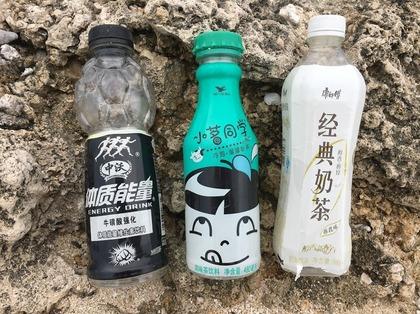 浜に流れ着いたペットボトル.JPG